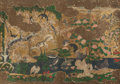 Asian:Japanese, JAPANESE SCHOOL (17TH CENTURY). Springtime (Four-panelscreen mounted onto single support), circa 1680. Ink,watercolor,...