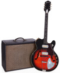 Musical Instruments:Electric Guitars, 1960 Harmony H66 Vibrajet Redburst Semi-Hollow Body Electric Guitarand H305A Grey Guitar Amplifier, Serial # 4077H66.... (Total: 2Items)