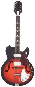 Musical Instruments:Electric Guitars, 1960 Harmony H66 Vibrajet Redburst Semi-Hollow Body ElectricGuitar, Serial # 6777H66....