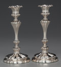 Silver Holloware, British:Holloware, A PAIR OF ELKINGTON SILVER-PLATED CANDLESTICKS, Birmingham,England, circa 1853-1854. Marks: E & CO (in shield undera c... (Total: 2 Items)