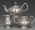 Silver Holloware, British:Holloware, A THREE PIECE MARTIN, HALL & CO. SILVER-PLATED TEA SERVICE, Sheffield, England, circa 1910. Marks: M.H. & CO (in shield)... (Total: 3 Items)