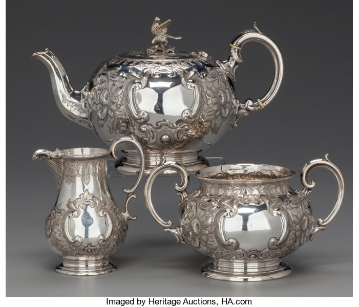 A THREE PIECE MARTIN, HALL & CO  SILVER-PLATED TEA SERVICE