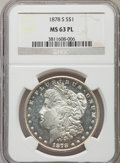 Morgan Dollars: , 1878-S $1 MS63 Prooflike NGC. NGC Census: (465/927). PCGS Population (516/614). Numismedia Wsl. Price for problem free NGC...