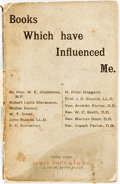 Books:Books about Books, [Books about Books]. Books Which Have Influenced Me. New York: James Pott and Co., [1887]. ...