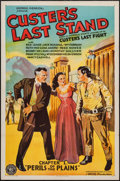 "Movie Posters:Adventure, Custer's Last Stand (Stage and Screen Productions, 1936). One Sheet(27"" X 41""), Chapter 1 -- ""Perils of the Plains."" Advent..."