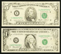 Error Notes:Inking Errors, Fr. 1908-G $1 1974 Federal Reserve Note. Very Fine;. Fr. 1978-I $5 1985 Federal Reserve Note. Very Fine.. ... (Total: 2 notes)