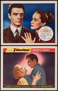 """I Confess and Other Lot (Warner Brothers, 1953). Lobby Cards (2) (11"""" X 14""""). Hitchcock. ... (Total: 2 Items)"""