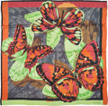 Luxury Accessories:Accessories, Escada Green, Orange & Fuchsia Silk Chiffon Butterfly Scarf....