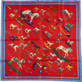 "Luxury Accessories:Accessories, Hermes 90cm Red & Blue ""Raconte-Moi le Cheval,"" by DimitriRybaltchenko Silk Scarf. ..."