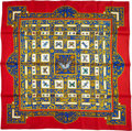 "Luxury Accessories:Accessories, Hermes 90cm Red & Blue ""Joyaux de l'Ete,"" by Antoine deJacquelot Silk Scarf. ..."