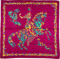 "Luxury Accessories:Accessories, Hermes 90cm Fuchsia ""Cheval Fleuri,"" by Henri d'Origny Silk Scarf.Very Good Condition . 36"" Width x 36"" Length . ..."