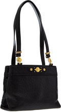 Luxury Accessories:Bags, Versace Black Ostrich Shoulder Bag with Gold Hardware. ...