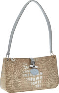 Luxury Accessories:Bags, Longchamp Beige & Silver Crocodile Embossed Suede Too Night Shoulder Bag. ...