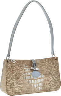 Longchamp Beige & Silver Crocodile Embossed Suede Too Night Shoulder Bag