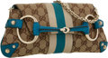 Luxury Accessories:Bags, Gucci Turquoise Leather & Classic Monogram Canvas HorsebitShoulder Bag. ...