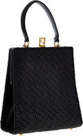 Luxury Accessories:Bags, Fendi Black Woven Patent Leather Top Handle Bag. ...