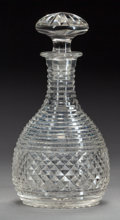 Decorative Arts, British:Other , AN ENGLISH CLEAR CUT-GLASS DECANTER, England, early-19th century.10 inches high (25.4 cm). Provenance: . Property from th... (Total:2 Items)