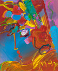 Fine Art - Painting, American:Contemporary   (1950 to present)  , PETER MAX (American, b. 1937). Untitled (FloralArrangement). Acrylic on paper laid on canvas. 10-1/2 x 8-1/2inches (26...