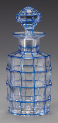 Decorative Arts, Continental:Other , A BOHEMIAN BLUE CUT-TO-CLEAR GLASS PERFUME BOTTLE WITH STOPPER,circa 1930. 6-1/2 inches high (16.5 cm) (including stopper)...