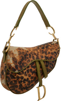 Christian Dior Green Ostrich & Leopard Leather Saddle Bag