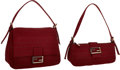 Luxury Accessories:Bags, Fendi Set of Two; Burgundy Monogram Canvas Baguette & MamaBaguette Bags. ...