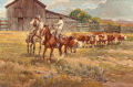 Fine Art - Painting, American:Modern  (1900 1949)  , NEWMAN MYRAH (Canadian/American, 1921-2010). Watching Over theCattle. Oil on canvas. 20 x 30 inches (50.8 x 76.2 cm). S...