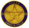 Baseball Collectibles:Others, 1949 All-Star Game Press Pin (Brooklyn). Ebbets Field served as the fitting home for the first racially integrated Midsumme...