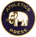 Baseball Collectibles:Others, 1930 World Series Press Pin (Philadelphia Athletics). Generally considered the rarest post-1920 press pin. The vast areas o...