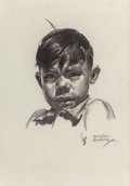 Fine Art - Work on Paper:Drawing, BETTINA STEINKE (American, 1913-1999). Portrait of a YoungBoy. Charcoal on paper. 13 x 9 inches (33.0 x 22.9 cm)(sight...