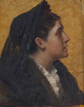 Paintings, BENONI IRWIN (American, 1840-1896). Profile of a Woman, 1879. Oil on panel. 7 x 5-1/2 inches (17.8 x 14.0 cm). Signed an...