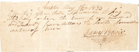 James Bowie Autograph Promissory Note Signed