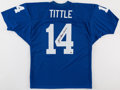 Football Collectibles:Uniforms, Y.A. Tittle Signed New York Giants Jersey....