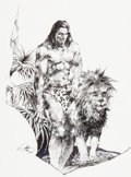 Original Comic Art:Splash Pages, Tony DeZuniga Tarzan and Lion Pin-Up Original Art(undated)....