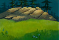 Animation Art:Painted cel background, Heidi's Song Painted Background Animation Art(Hanna-Barbera, 1983)....