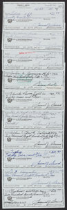 Golf Collectibles:Miscellaneous, 1988 Sam Snead Signed Checks Lot of 10. ...