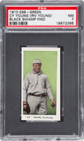 """Baseball Cards:Singles (Pre-1930), 1910 E98 """"Set of 30"""" Cy Young - Green """"Black Swamp Find"""" PSA NM 7...."""