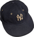 Baseball Collectibles:Uniforms, 1930's Tony Lazzeri Game Worn New York Yankees Cap, MEARS Authentic....