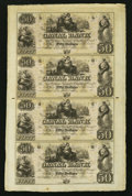 Obsoletes By State:Louisiana, New Orleans,LA- Canal Bank $50-$50-$50-$50 18__ Uncut Sheet.. ...