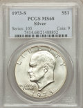 Eisenhower Dollars: , 1973-S $1 Silver MS68 PCGS. PCGS Population (848/4). NGC Census: (157/1). Mintage: 869,400. Numismedia Wsl. Price for probl...