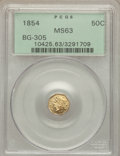 California Fractional Gold: , 1854 50C Liberty Octagonal 50 Cents, BG-305, Low R.4, MS63 PCGS.PCGS Population (38/8). NGC Census: (4/6). ...