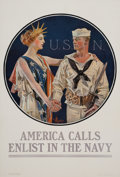 Prints, JOSEPH CHRISTIAN LEYENDECKER (American, 1874-1951). America Calls, U.S. Navy poster. Color poster laid on canvas. 43-3/4...