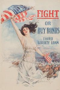 "HOWARD CHANDLER CHRISTY (American, 1872-1952) ""Fight or Buy Bonds,"" Third Liberty Loan poster, 1917"