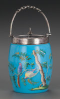 Art Glass:Other , A FRENCH BLUE OPALINE GLASS BISCUIT JAR WITH SILVER-PLATED MOUNTS,circa 1880. Marks: 31. 7 inches high (17.8 cm) (handl...