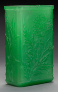 Art Glass:Steuben, AN ACID-ETCHED GREEN GLASS VASE, Attributed to Steuben, early-20thcentury. 9-1/2 inches high x 5 3/4 inches wide (24.1 cm x...