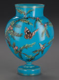 Art Glass:Other , FRENCH BLUE OPALINE GLASS VASE, circa 1880. 9-1/4 inches high (23.5cm) . ...