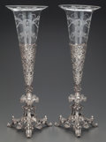 Silver Holloware, British:Holloware, A PAIR OF PRYOR TYZACK & CO. SILVER-PLATE AND GLASS VASES,Sheffield, England, circa 1863. Marks: PT & Co. S, SHEFFIELD2... (Total: 4 Items)