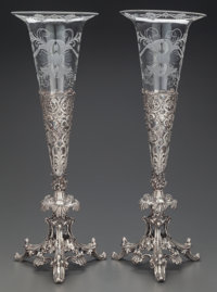 A PAIR OF PRYOR TYZACK & CO. SILVER-PLATE AND GLASS VASES, Sheffield, England, circa 1863 Marks: PT & Co...