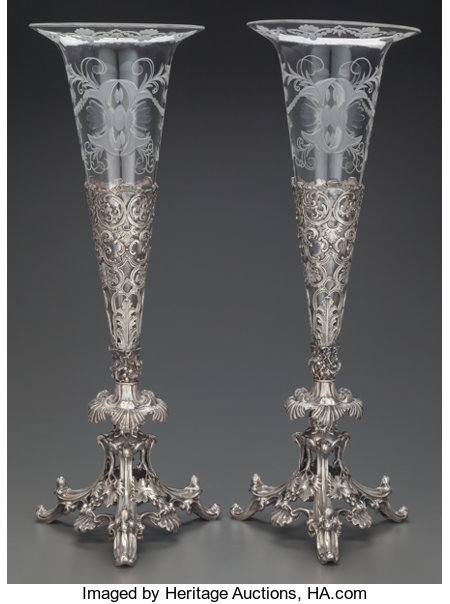 A PAIR OF PRYOR TYZACK & CO. SILVER-PLATE AND GLASS VASES, Sheffield, England, circa 1863Marks: PT & Co. S, SHEFFIELD 2... (Total: 4 Items)