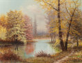 Texas:Early Texas Art - Regionalists, WILLIAM ROBERT THRASHER (American, 1908-1997). AutumnReflections. Oil on canvasboard. 23 x 29-3/4 inches (58.4 x75.6 c...