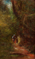 Fine Art - Painting, American:Antique  (Pre 1900), JAMES CRAWFORD THOM (American, 1835-1898). Figure on SunlitForest Pathway. Oil on canvas laid on board. 8-1/4 x 5-1/8 i...